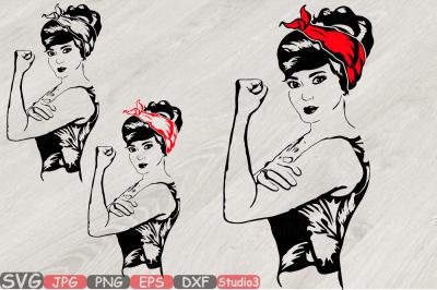 Girl Power Bandana Silhouette SVG Rosie the Riveter youth women 797S