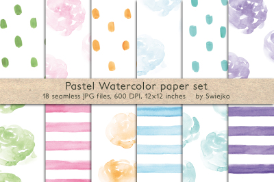 Pastel Watercolor seamless paper set