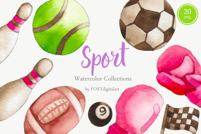 Watercolor Sports Ball Fitness Sports Equipment Clipart