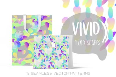 Vivid Fluid Shapes - Seamless Patterns