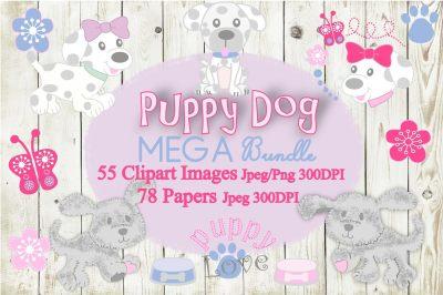 Puppy Dog Mega Bundle Clipart & Digital Paper Set