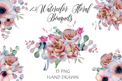 Watercolor floral bouquets with peonies & anemonies flowers