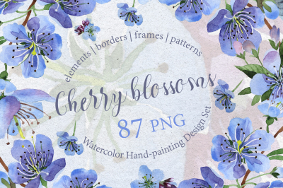 Cherry blossoms PNG watercolor set