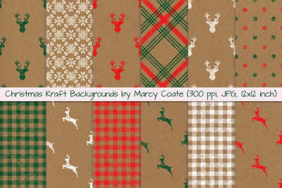 Christmas Kraft Backgrounds - Digital Papers