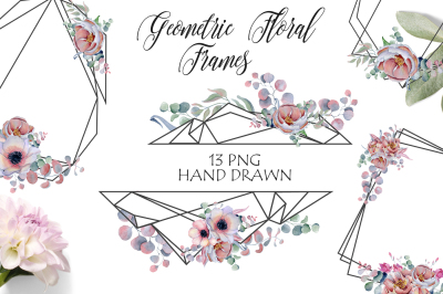 Geometric Floral Frames with peonies and anemonies