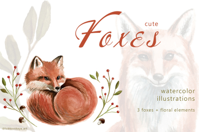 Cute Foxes - Watercolor Illustrations