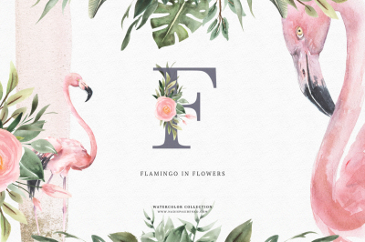 Watercolor Flamingo & Flowers