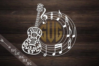 guitar circle monogram, svg file, music musical notes, floral guitar