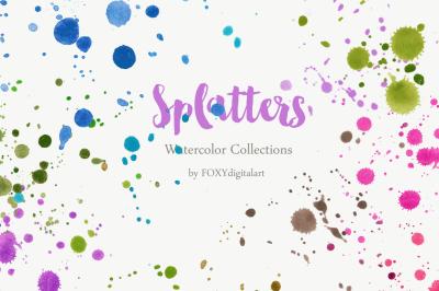 Watercolor Paint Splatters Clipart