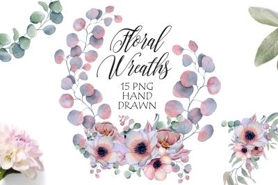 Watercolor floral wreaths with peonies & anemonies flowers