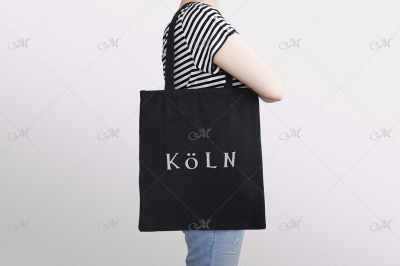 'Stripes-n-Totes' Black Tote Bag Mockup
