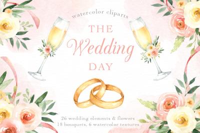 The Wedding Day Watercolor Clip Art