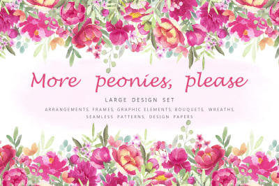 More Peonies Flower Graphic Set