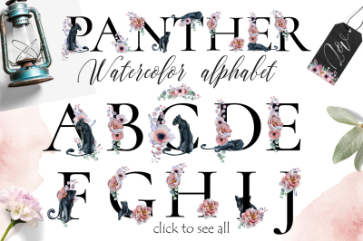 Watercolor Panthers Alphabet ClipArt