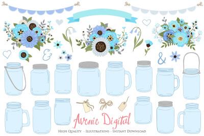 Blue and Gray Floral Mason Jar Wedding Clipart