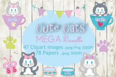 Cute Cat Clipart and Digital Papers