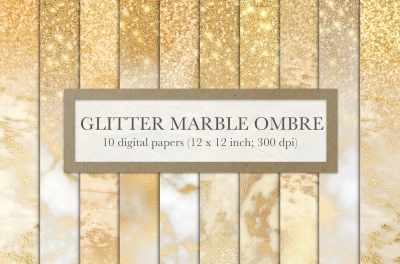 Gold marble glitter ombre