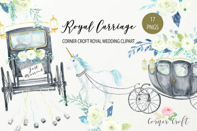 Watercolor Royal Carriage Clipart