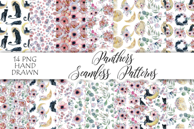Panthers Seamless Patterns with flowers and moons