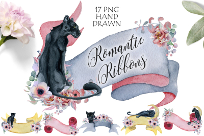 Romantic Ribbons with Panthers & Flowers