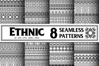 8 Black and White Ethnic Seamless