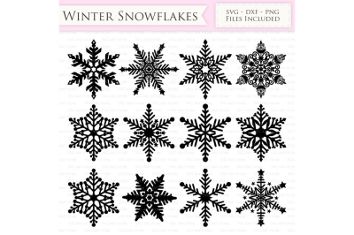 Winter Snowflakes SVG Snow Cutting Files