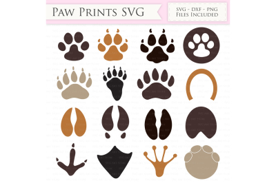Paw print SVG Files - Animal Paw Print Cut Files