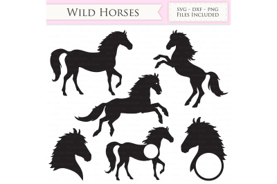 Wild Horses SVG Files - Jumping Horse - Horse Monogram Cut Files