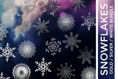 Snowflake Vector Bundle Gold Foil, Silver Foil & White
