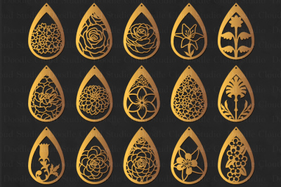 Floral Earrings SVG, Teardrop Earrings, Pendant SVG files