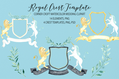 Watercolor royal crest clipart, crest template