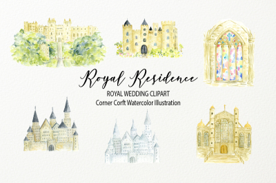 Watercolor royal residence illustration, royal wedding venue clipart