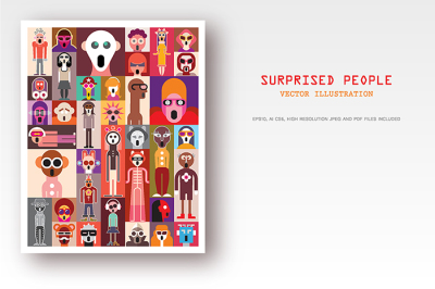Surprised People vector pop-art collage