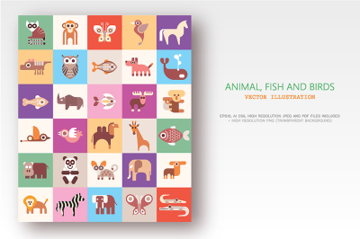 Animals, Fish and Birds vector illustration