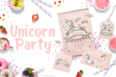 Unicorn Party Printables - Birthday Invitation Set