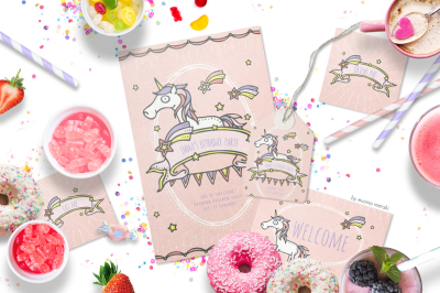 Unicorn Party Printables - Birthday Invitation Set