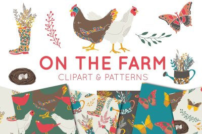 On The Farm Clipart and Digital Paper Set - Digital Scrapbooking