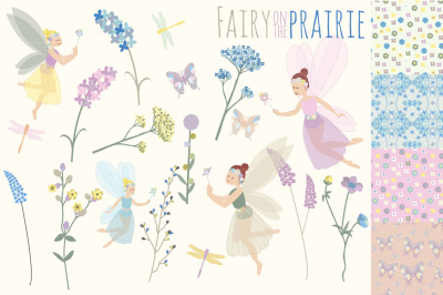 Fairy on the Prairie Clipart and Seamless Pattern Set