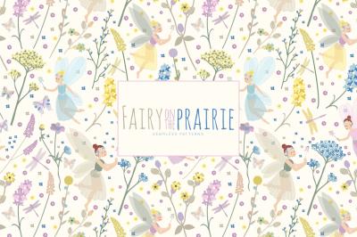Fairy on the Prairie Seamless Vector Patterns - Digital Paper