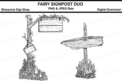 Fairy Signpost Duo Lineart