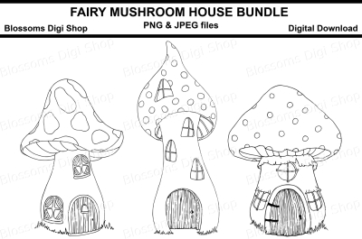Fairy mushroom house bundle digital stamps
