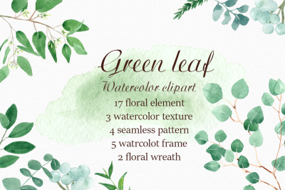 Green leaf. Watercolor clipart