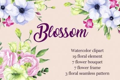 Blossom. Watercolor clipart