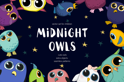 Midnight Owls - vector set for kids