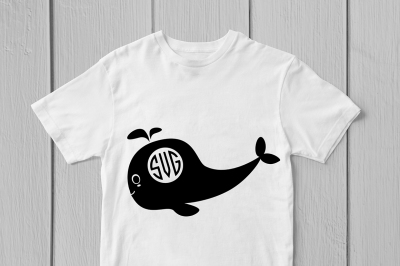 Cute Whale - Svg Monogram Cut File