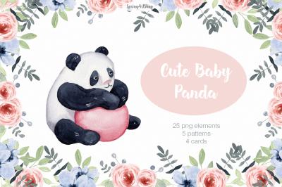 Cute baby Panda Watercolor clipart