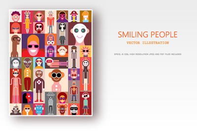 Smiling People pop art vector collage