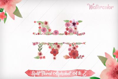 Split Letters A-Z Clipart - Split Floral Alphabet