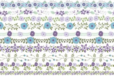 Violet mint flower border clipart, Floral border clip art divider