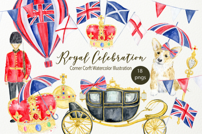 Watercolor Royal celebration clip art